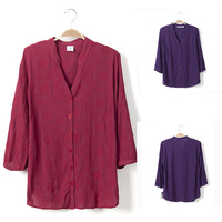 2014 New Women Embroidery Floral Blouse Casual Three Quarter V-Neck Plus Size Cotton Shirts,Women's Clothes #8047