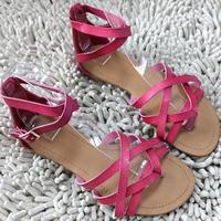 New 2014 F 21 flat belt genuine leather flip-flop flip sandals flat heel women's shoes