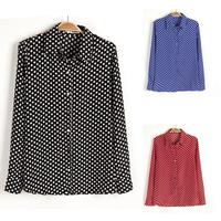 2014 Summer Women Plus Size Chiffon Blouse Fashion Long Sleeve Polka Dots Shirts,Women's Clothes XXL  #8149