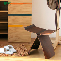 Modern furniture and wooden stool changing his shoes simple and stylish European butterfly chair wooden stool changing his shoes