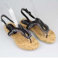 New 2014  flat heel rhinestone chain casual sandals flat flip-flop flip beaded all-match women's shoes