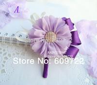 New Handmade Boutonniere Wedding Decoration  Prom Corsage  Daisy Wrist Flower  Brides Accessories Buttonhole Purple FL1322