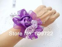 New Year 10pcs Romantic Fabric Prom Wedding Decoration Artificial Rose Boutonniere Crystal Corsage Wrist Flower Bracelet  FL1321