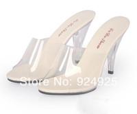 new 2014 sandal 10cm high heels transparent crystal slides ladies shoes sapatos femininos sandles size 4-12