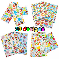 1 meter Cute Owl Cotton Fabric 10 Designs to Choose Children's 100% Cotton Cartoon Bedding Cloth Tissue by Meter