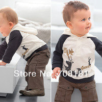 Spring autumn children 's clothing baby boys 2pcs sets Casual long-sleeved  Squirrel hoodie + trousers pants clothes suit