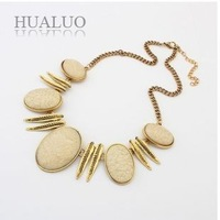 2014 New  Fashion Gold Plated Chains Geometric Oval Stones Charm Bib Short Necklaces For Women N1614