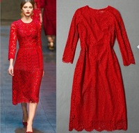 High Quality Runway 2014 Deigner Dress Women Red Black Lace Hollow out  O-neck Slim Dress, Fashion Party Dress S-L Free Shipping