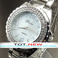 1PC 2014 NEW HOURS CLOCK DIAL HAND OYSTER CRYSTAL STAINLESS STEEL WOMEN WRIST WATCH FREE SHIPPING