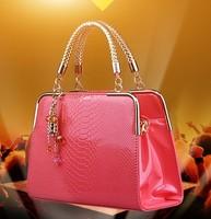 2014 new fashion light wave packet crocodile handbag Messenger bag woman