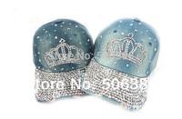 Free shipping Diamond Crown washed denim baseball cap hat,women baseball cap,ladies sport cap,Leisure cowboy hat,women jeans cap