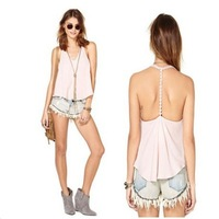 chiffon backless v-neck camis fashion casual tank tops sexy strap new 2014