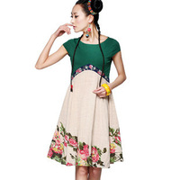 2014 New In Fashion Women's Dresses High Waist Embroidered Twisted Cloth Rustic Patchwork Female Dress