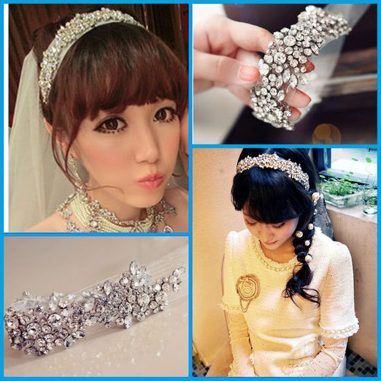 New Top quality Luxury Wedding jewelry bride hair accessories crystal mesh elastic Bridal hair tiara headband