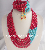 A-455 Fashion African Wedding Coral + Turquoise Beads Jewelry Set