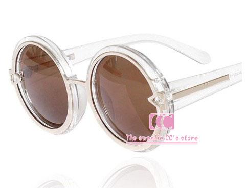 Summer fashion sunglasses women / Personality Circle transparent sun glasses / Candy colors Green Purple Black Blue(China (Mainland))