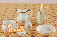 Wholesale iland Ceramic Bathroom Set 1/12 Dollhouse Miniature  Accessory Shower Room set  8*50 PCS OD005B