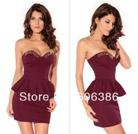 Free Shipping, 2014 New Sexy Women's Evening Dress,Punk Strapless Rivets Ruched Ladies' Sleeveless Party Sheath Dress