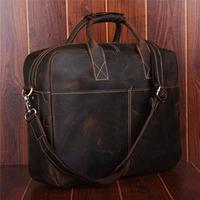 Handmade Vintage Style Genuine Leather Briefcase For Men Laptop 15 Inch Handbag Business Travel Bag Shoulder Bag Messenger Bags