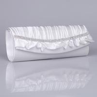 Fashion  white lace hand-beaded big bright rinestones wedding bridal prom clutch handbag