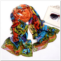 Fashion Oil Painting 100% mulberry silk scarf  women's Shawl Scarf designer pure silk scarves