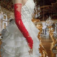 Ultra Xianer Gorgeous Red lace gauze fingerless Bridal gloves long