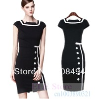 New 2014 women fashion elegant vintage patchwork color knee length short sleeve plus size  bodycon dress