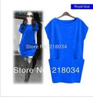 High quality Hot sale  Royal blue  Women's woolen Dress Sweaters Casual Pocket Jersey Dresses For Women M L XXXL
