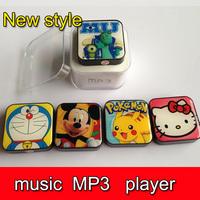 100pcs DHL Cute Music MP3 player+USB+Earphone+Crystal Box  Mini Rechargeable MP3 W/TF card Slot  free shipping