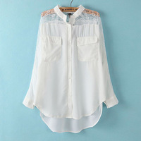 New! Stylish Hollow Out and Lace Patchwork Girl's Chiffon Shirts Long Sleeve O Neck Woman's Blouses Casual Loose Tops 030407