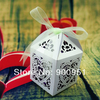 Laser cut Wedding favor box ,Mixed Order ,Mixed color ,5*5*7.5cm ;40color