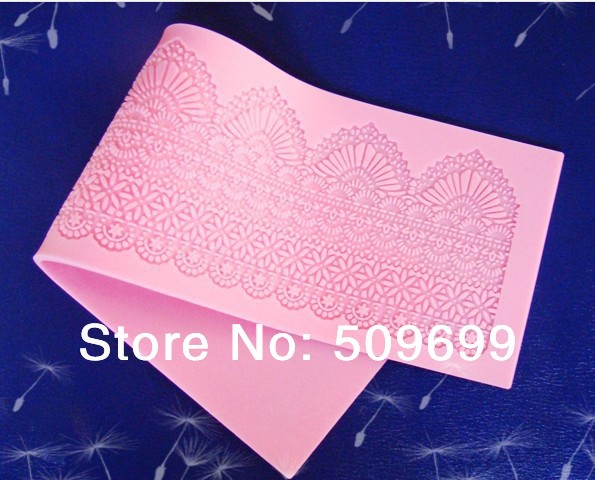 2014 LACE MAKER FONDANT SILICONE MOLD FLOWERS CAKE DECORATING GUM PASTE TOOLS Fondant lace mat(39.5*11.6cm) - free shipping(China (Mainland))