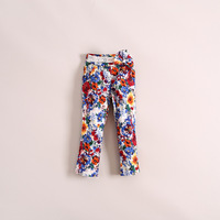 Pretty three color floral cotton girl pants, causal lace blet kids trouser, children long pants, nice design