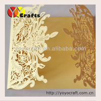 hot sell laser cut Wedding Invitation Card with Envelope,Seal,blank inside card