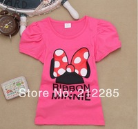 2014 Summer Ribbon Minnie Short Sleeve Cotton Clothing Girl T shirt Retail 3T-7T