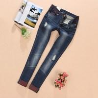 Retail 1 pcs spring autumn 2014 children pants boys & girls elastic slim straight denim trousers kids jeans
