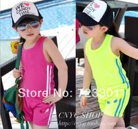 Retail children shampooers tracksuit sleeveless T-shirt vest harem pants boys shorts girls baby jogging sport set summer wear