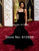 Strapless Mermaid Black Zipper Back Corset Velvet Tiered Tulle Crumpled 2014 85th Oscar Celebrity Dresses