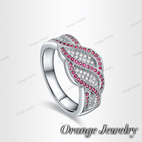18K White Gold Plated Exquisite Inlaid Double Leaf Red SWA ELEMENT Austrian Crystal Ring O-RI0131