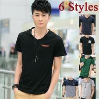 Wholesales mens t shirts fashion Spring 2014 new men's t shirt v neck tshirts for men camisetas fitness boy clothes quality S540