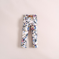 Hotsale 6pcs/lot three color cotton print causal girls long pants fashion belt kids trouser, children clothing