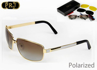 Polarized Brand Metal Sun glass Man Luxury Driver 7 Star Quality Outdoor Sunglasses 2 Polarized Lens+1 Night Vision Lens PRJ0093
