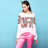 Hot High Street Fashion 2014 Colorful Letters Patchwork Soft Silk T-shirts Loose Casual Tops SS4030 Plus Size