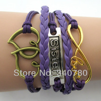 2014 new bracelets Vintage bronze heart to heart silver sister rose gold big infinity loe for friendship purple leather wax E24
