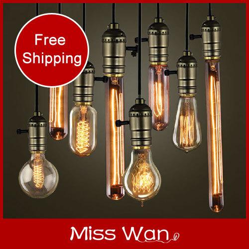 Factory price! Vintage pendant light edison bulb+wire+E27 aluminum lamp holder+ceiling base bar shop 110v 220v 10pcs(China (Mainland))