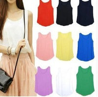 Free shipping 2014 Women Slim Fit Chiffon Blouses Top Vest Shirts Trendy Shirt
