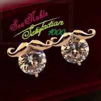 Spring 2014 South Korea Imported Cute Mustache Gold Plated Zircon Earrings For Women S182