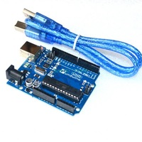 Free shipping  !10sets/lot Funduino uno r3 compatible for arduino uno r3 10sets=10pcs uno r3 board + 10pcs cable