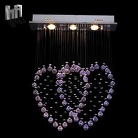 Modern brief k9 crystal steel wire pendant lamp double lighting romantic love pink purple 0021