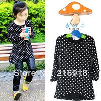 Autumn children's clothing 2013 polka dot female child autumn baby child male child long-sleeve T-shirt 100% cotton basic shirt
